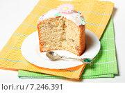 Купить «Кулич на тарелке», эксклюзивное фото № 7246391, снято 12 апреля 2015 г. (c) Яна Королёва / Фотобанк Лори
