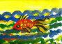Детский рисунок. Золотая рыбка, эксклюзивная иллюстрация № 7252855 (c) Валерия Попова / Фотобанк Лори