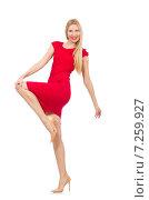 Купить «Blond woman in scarlet dress isolated on white», фото № 7259927, снято 17 декабря 2014 г. (c) Elnur / Фотобанк Лори