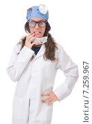 Купить «Female young doctor isolated on white», фото № 7259967, снято 22 июня 2013 г. (c) Elnur / Фотобанк Лори