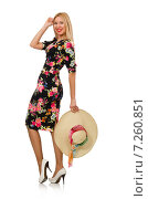 Купить «Cute blonde girl in floral dress isolated on white», фото № 7260851, снято 10 декабря 2014 г. (c) Elnur / Фотобанк Лори