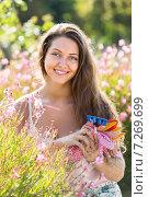 Smiling girl in garden. Стоковое фото, фотограф Яков Филимонов / Фотобанк Лори