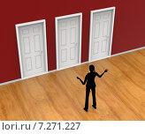 Choice Silhouette Indicates Door Frame And Alternative. Стоковая иллюстрация, иллюстратор Stuart Miles / Фотобанк Лори