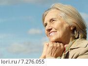 Happy elderly woman. Стоковое фото, фотограф Ruslan Huzau / Фотобанк Лори