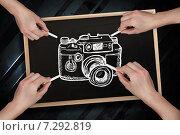 Купить «Composite image of multiple hands drawing camera with chalk», фото № 7292819, снято 18 октября 2019 г. (c) Wavebreak Media / Фотобанк Лори
