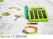 Купить «Калькулятор и ручка на биржевых графиках и диаграммах», фото № 7294439, снято 17 апреля 2015 г. (c) Валерия Потапова / Фотобанк Лори