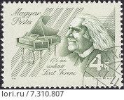 Ференц Лист (Franz Ritter von Liszt) - венгерский композитор, пианист-виртуоз. Почтовая марка Венгрии 1986 года. Стоковая иллюстрация, иллюстратор александр афанасьев / Фотобанк Лори