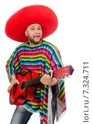 Купить «Funny mexican with guitar isolated on white», фото № 7324711, снято 10 февраля 2015 г. (c) Elnur / Фотобанк Лори
