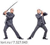 Купить «Two men figthing with the sword isolated on white», фото № 7327043, снято 11 июля 2013 г. (c) Elnur / Фотобанк Лори