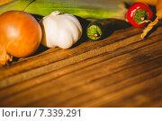 Купить «Vegetables laid out on table», фото № 7339291, снято 12 февраля 2015 г. (c) Wavebreak Media / Фотобанк Лори