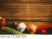 Купить «Vegetables laid out on table», фото № 7339731, снято 12 февраля 2015 г. (c) Wavebreak Media / Фотобанк Лори