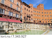 Купить «Siena the fountain Fonte Gaia on the Piazza del Campo Tuscany», фото № 7343927, снято 26 марта 2019 г. (c) BE&W Photo / Фотобанк Лори