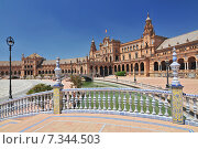Купить «Plaza de Espana (Place d' Espagne), built between 1914 and 1928 by the architect Anibal Gonzalez, Sevilla, Andalucia, Spain», фото № 7344503, снято 27 марта 2019 г. (c) BE&W Photo / Фотобанк Лори