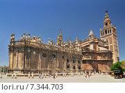 Купить «Sevilla Cathedral (Catedral de Santa Maria de la Sede), Gothic style architecture in Spain, Andalusia region.», фото № 7344703, снято 16 октября 2018 г. (c) BE&W Photo / Фотобанк Лори