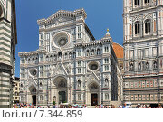 Купить «Florence, Italy. Cathedral of Santa Maria del Fiore (1436), or The Duomo, seen from the Piazza San Giovanni.», фото № 7344859, снято 19 апреля 2019 г. (c) BE&W Photo / Фотобанк Лори