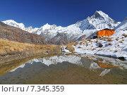 Купить «Nepal, Annapurna Conservation Area, Annapurna Base Camp in Nepal Himalaya», фото № 7345359, снято 20 июля 2019 г. (c) BE&W Photo / Фотобанк Лори