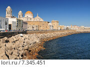 The seafront promenade with the Cathedral in the Background Cadiz, Andalusia, Southern Spain. Стоковое фото, агентство BE&W Photo / Фотобанк Лори
