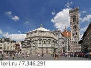 The Duomo, Campanile and Baptistery, from Piazza del Duomo, Florence, Tuscany, Italy. Редакционное фото, агентство BE&W Photo / Фотобанк Лори