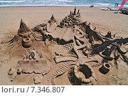 Купить «Architecture of sand on the beach in Marbella, Andalusia, Spain, Europe», фото № 7346807, снято 10 июля 2020 г. (c) BE&W Photo / Фотобанк Лори