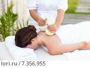 Купить «Brunette having massage with herbal compresses», фото № 7356955, снято 29 января 2015 г. (c) Wavebreak Media / Фотобанк Лори