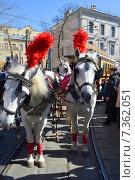 Купить «Знаменитый трамвай конка 1880 года выпуска на параде трамваев в Москве. Чистые пруды, 11 апреля 2015», эксклюзивное фото № 7362051, снято 11 апреля 2015 г. (c) lana1501 / Фотобанк Лори