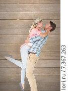 Купить «Composite image of handsome man picking up and hugging his girlfriend», фото № 7367263, снято 20 марта 2019 г. (c) Wavebreak Media / Фотобанк Лори