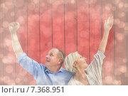 Купить «Composite image of happy mature couple with hands up», фото № 7368951, снято 20 января 2019 г. (c) Wavebreak Media / Фотобанк Лори