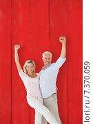 Купить «Composite image of smiling couple cheering at the camera», фото № 7370059, снято 20 января 2019 г. (c) Wavebreak Media / Фотобанк Лори