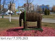 Купить «Фигура слона - элемент ландшафтного дизайна в парке города Одинцово Московской области», эксклюзивное фото № 7370263, снято 13 апреля 2015 г. (c) lana1501 / Фотобанк Лори