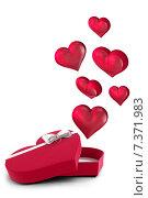 Купить «Hearts flying from box», иллюстрация № 7371983 (c) Wavebreak Media / Фотобанк Лори