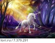 Единорог в сиреневом лесу. Стоковая иллюстрация, иллюстратор Елена Саморядова / Фотобанк Лори