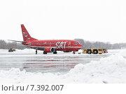 Аэродромный тягач тащит самолет Boeing-737-500, бортовой номер RA-730-13, авиакомпании Aurora Airlines. Аэропорт Петропавловск-Камчатский (2015 год). Редакционное фото, фотограф А. А. Пирагис / Фотобанк Лори