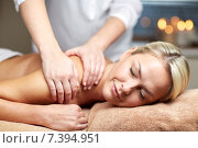 Купить «close up of woman lying and having massage in spa», фото № 7394951, снято 18 декабря 2014 г. (c) Syda Productions / Фотобанк Лори
