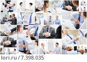 Купить «collage with business handshake», фото № 7398035, снято 17 сентября 2019 г. (c) Syda Productions / Фотобанк Лори