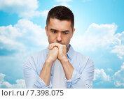 Купить «unhappy man thinking», фото № 7398075, снято 3 февраля 2015 г. (c) Syda Productions / Фотобанк Лори