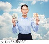 Купить «businesswoman with dollar cash money», фото № 7398471, снято 1 декабря 2013 г. (c) Syda Productions / Фотобанк Лори