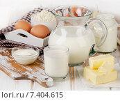 Купить «Fresh Milk products on a wooden background.», фото № 7404615, снято 24 марта 2015 г. (c) Tatjana Baibakova / Фотобанк Лори