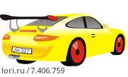 Желтый дорогой автомобиль. Стоковая иллюстрация, иллюстратор Людмила Любицкая / Фотобанк Лори