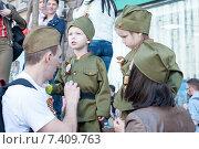 """Дети в военной форме на марше """"Бессмертный полк"""", Москва, 9 мая 2015 года. Редакционное фото, фотограф Александра Прохорова / Фотобанк Лори"""
