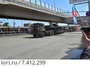 Купить «Военная техника на Новой Башиловке после парада в честь Дня Победы в Москве 9 мая 2015 года», эксклюзивное фото № 7412299, снято 9 мая 2015 г. (c) lana1501 / Фотобанк Лори