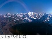 Купить «Kings of the Himalaya mountain range, Nuptse, Mount Everest and Lhotse, seen from a plane», фото № 7418175, снято 6 сентября 2006 г. (c) Caro Photoagency / Фотобанк Лори