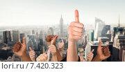Купить «Composite image of hands showing thumbs up», фото № 7420323, снято 21 июля 2019 г. (c) Wavebreak Media / Фотобанк Лори