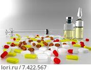 Купить «Шприц и лекарства на столе», иллюстрация № 7422567 (c) Дмитрий Боков / Фотобанк Лори