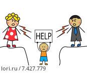 """Родители ругают ребенка. Ребенок держит над головой надпись """"HELP"""" Стоковая иллюстрация, иллюстратор Ольга Савинова / Фотобанк Лори"""