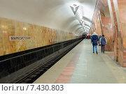 "Платформа станции метро ""Марксистская"", эксклюзивное фото № 7430803, снято 5 апреля 2015 г. (c) Константин Косов / Фотобанк Лори"