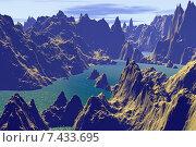 Купить «Чужая планета. Скалы и озеро», иллюстрация № 7433695 (c) Parmenov Pavel / Фотобанк Лори
