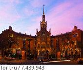 Купить «Hospital de la Santa Creu i Sant Pau in evening», фото № 7439943, снято 27 февраля 2020 г. (c) Яков Филимонов / Фотобанк Лори