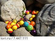 Шарики для пейнтбола лежат среди камней. Стоковое фото, фотограф Виктория Радостева / Фотобанк Лори
