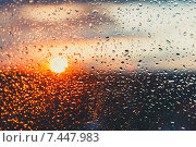 Купить «Капли воды на стекле после дождя», фото № 7447983, снято 21 октября 2018 г. (c) Mikhail Starodubov / Фотобанк Лори