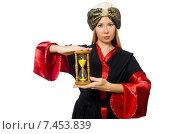 Купить «Female magician isolated on white», фото № 7453839, снято 12 декабря 2014 г. (c) Elnur / Фотобанк Лори
